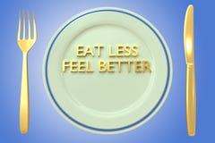 Mangez moins de meilleur concept de sensation illustration stock
