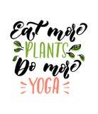 Mangez plus d'usines font plus de citation de yoga Calligraphie tirée par la main de brosse illustration de vecteur