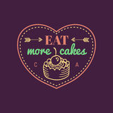 Mangez plus de logo de gâteau de vintage de gâteaux Label de boulangerie de vecteur Affiche typographique de biscuit de bon goût  illustration stock