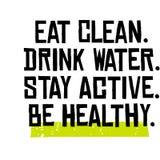 Mangez propre L'eau de boissons Active de séjour Soyez sain illustration de vecteur
