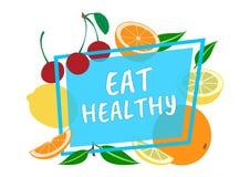 Mangez sain Conception d'été, fruits autour du cadre, fond d'été Vecteur illustration libre de droits