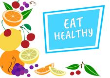Mangez sain Fond coloré de fruit, vecteur illustration stock