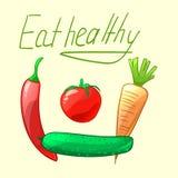Mangez sain Légumes mûrs et juteux illustration stock