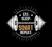 mangez sommeil squat répétition Copie de motivation de gymnase avec E-F grunge illustration stock