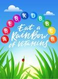 Mangez un arc-en-ciel de bannière de vitamines Affiche créative conceptuelle dans le vecteur Illustration saine lumineuse de mode illustration de vecteur