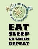 Mangi il sonno per andare ripetizione verde Tazza di t? verde Cartolina sveglia di stile disegnato a mano del fumetto royalty illustrazione gratis