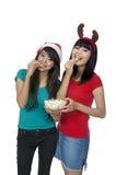 Mangi insieme il popcorn Fotografia Stock Libera da Diritti