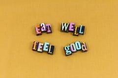 Mangi sano si sentono bene la tipografia felice fotografie stock libere da diritti