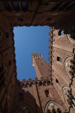 Mangia Tower in the Piazza del Campo, Siena, square Stock Images