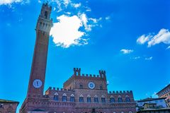 Mangia Tower Piazza del Campo Tuscany Siena Italy royalty free stock images