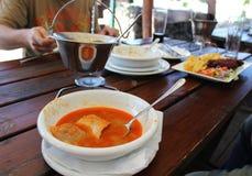 Mangiando esterno - halaszle ungherese della minestra del pesce e mangiatori invisibili immagini stock libere da diritti