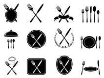 Mangiando le icone degli utensili messe Fotografia Stock