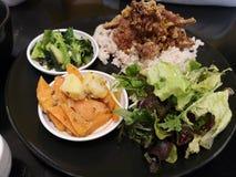 Mangiando verso l'esterno/pasto giapponese sano immagini stock