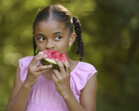 Mangiatore dell'anguria fotografia stock
