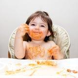 Mangiatore sudicio di divertimento felice fotografia stock libera da diritti