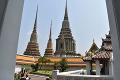 Beautiful pagodas Wat Pho, one of most famous in Thailand stock images
