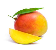 Mango. With leaf and a slice stock photography