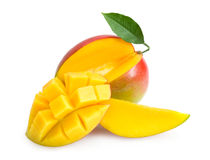 Mango. With slices isolated on white royalty free stock images