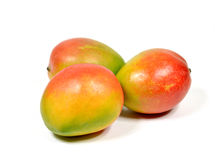 Mango. Fresh ripe three mangoes on white background Stock Images
