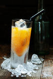 Mango Alcohol Drink. Cool Mango Alcohol Drink with crushed Ice on wooden table for drink concepts stock images