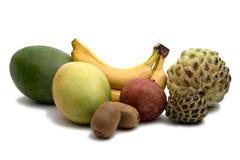 Mango, banana, kiwi. pomegranat and sugar apple isolated. On the white. Tasty multifruit royalty free stock photography