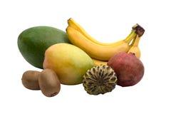 Mango, banana, kiwi. pomegranat and sugar apple isolated. On the white. Tasty multifruit stock image