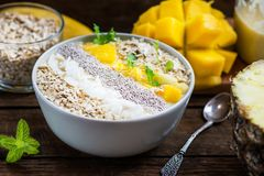 Mango, Banana, Pineapple and Oatmeal Smoothie in the Bowl. With Ingredients on top, on the dark wooden background Stock Photo