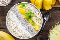 Mango, Banana, Pineapple and Oatmeal Smoothie in the Bowl. With Ingredients on top, on the dark wooden background, Top View Stock Photography