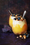Mango banana smoothie. With muesli, yogurt, blueberry and ginger confiture Stock Image