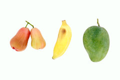 Mango, Banane und rosafarbener Apfel Lizenzfreie Stockfotografie