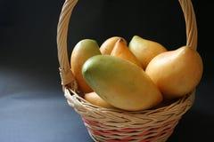 Mango basket. Fresh mangoes in a basket royalty free stock photo