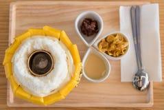 Mango bingsu, Fruit ice dessert at top view Stock Images