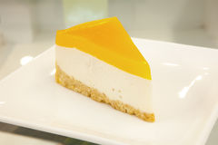 Mango Cheescake. On the table Royalty Free Stock Photo