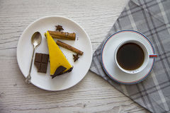 Mango cheesecake slice with coffee cup 3 Royalty Free Stock Image