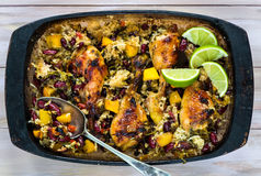 Mango chicken, bean and rice bake Royalty Free Stock Photography