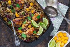 Mango chicken, bean and rice bake Royalty Free Stock Photo