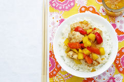 Mango chicken stir fry with rice Royalty Free Stock Image