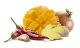 Mango chili ginger chutney isolated on white background Stock Photo