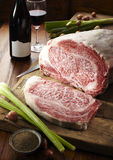 Japanese Kobe beef. In the kitchen of the Japanese Kobe beef, and some ingredients Stock Photos