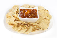 Mango Chutney and Mini Poppadums Stock Images