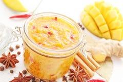Mango chutney. Spicy mango chutney with ingredients Stock Photography