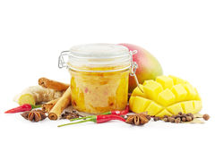 Mango chutney on white Royalty Free Stock Image