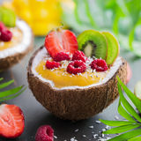 Mango  and coconut smoothie with fresh fruits and berries served. In  half coconut. Healthy vegan raw food. square image Stock Image