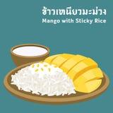 Mango con riso appiccicoso Fotografie Stock Libere da Diritti