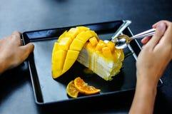 Mango crepe cake Stock Image