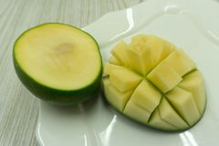 Mango cubed on white background sweet, stock image