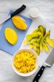 Mango cubes Stock Images