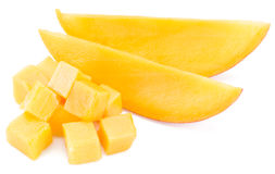 Mango cubes and slices. stock image