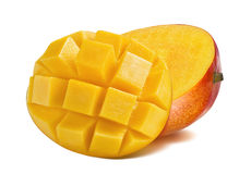 Mango cut slice dice isolated on white background. Mango half cut slice diced isolated on white background as package design element Stock Photos