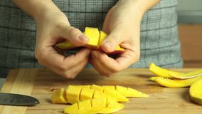 Mango cutting for oreo crape cake stock video footage